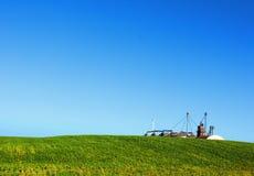 соя силосохранилища поля Стоковая Фотография