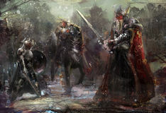 3 солдата в лесе стоковые изображения