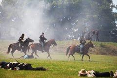 Солдаты гражданской войны соединения на лошадях Стоковое фото RF