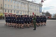 Солдаты женщин в форме на репетиции военного парада Стоковые Фото