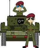 Солдат армии шаржа в танке Стоковые Изображения RF