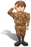 Солдат демонстрируя салют руки иллюстрация штока