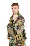 Солдат портрета или частный воинский подрядчик показывая сперва Стоковое Изображение