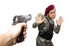Солдат при оружие изолированное на белизне Стоковая Фотография RF