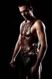 Солдат Рима на черной предпосылке стоковое изображение rf