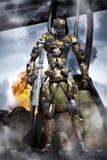 Солдат робота футуристический в бое Стоковые Изображения RF