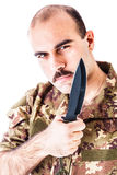 Солдат с лезвием Стоковое фото RF