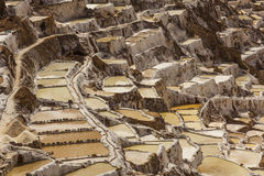 Солевые рудники перуанские Анды Cuzco Перу Maras Стоковые Изображения RF