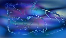 Содержание кота радуги на голубой предпосылке EPS10 Стоковое Фото