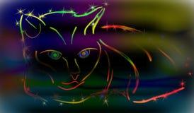 Содержание кота радуги на голубой предпосылке EPS10 Стоковая Фотография
