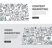 Содержимые & видео- знамена Doodle маркетинга иллюстрация вектора