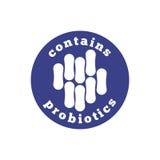 Содержит иллюстрацию вектора штемпеля probiotics monochrome, probiotic изолированное уплотнение знака значка символа Стоковые Фото