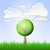 Солитарное дерево в мирном векторе ландшафта Стоковое Изображение