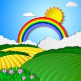 солнечное ландшафта сельское Стоковое Изображение
