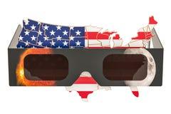 Солнечное затмение в концепции США, американской карте с gl солнечного затмения иллюстрация штока