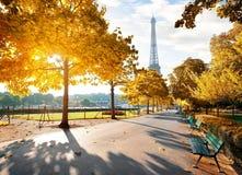 Солнечное утро в Париже в осени стоковые изображения rf