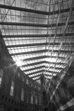 Солнечность неба крыши футуристической архитектуры стеклянная черно-белая стоковое изображение rf