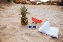 Солнечные очки арбуза ананаса изображения концепции лета и открытая книга Стоковые Фото