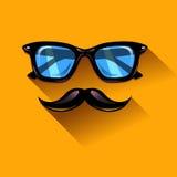 Солнечные очки битника зеленые на оранжевой предпосылке Стоковое Фото