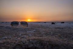 Солнечные очки в соленом болоте на заходе солнца стоковые изображения rf