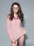 Солнечные очки маски женщины моды конструируют декоративный портрет Стоковые Изображения