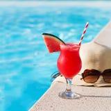 Солнечные очки питья smothie свежих фруктов арбуза Стоковое Фото