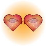 солнечные очки сердца форменные eyes женщина Стекла с мерцающими звездами предпосылки также вектор иллюстрации притяжки corel Стоковые Фотографии RF