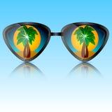 Солнечные очки с отражением деревьев Стоковая Фотография RF