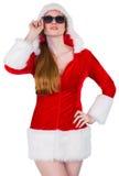 Солнечные очки холодной девушки santa нося Стоковые Фото