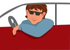 Солнечные очки человека шаржа в автомобиле Стоковое фото RF