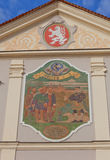 Солнечные часы старой ратуши в Brandys nad Labem, чехословакские стоковое фото rf