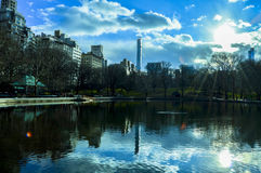 Солнечный день в озере Central Park Стоковая Фотография