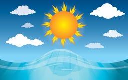 Солнечный день и ясные небеса на море иллюстрация вектора