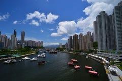 Солнечный день укрытия Абердина в Гонконге стоковое фото rf