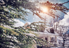 Солнечный морозный зимний день Стоковое Изображение RF