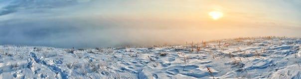 Солнечный свет зимы на холме стоковые изображения