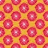 Солнцецветы безшовного цветочного узора графические абстрактные, круговые элементы, красная белизна на оранжевой предпосылке, тка иллюстрация вектора