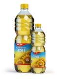 Солнцецвет или постное масло в пластичных бутылках на белизне бесплатная иллюстрация