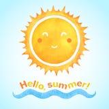 Солнце вектора акварели усмехаясь с волной моря бесплатная иллюстрация