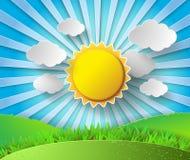 Солнце вектора с предпосылкой облаков иллюстрация штока