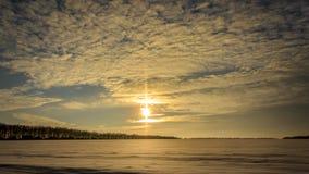 Солнце во время захода солнца Стоковые Фотографии RF