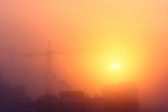 Солнце в тумане заморозка Стоковая Фотография RF