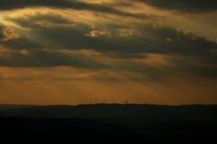 Солнце за облаками. Стоковое Изображение RF