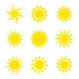 солнце иконы элементов конструкции установленное абстрактный вектор иллюстрации элементов собрания также вектор иллюстрации притя стоковые фото