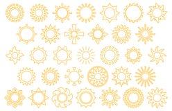 солнце иконы элементов конструкции установленное Стоковое Изображение RF