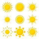 солнце иконы элементов конструкции установленное Стоковое фото RF