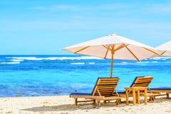 солнце Испании lounger острова fuerteventura пляжа канереечное Стоковое Изображение RF