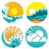 Солнце и волны моря. Значки вектора иллюстрации o Стоковые Фотографии RF