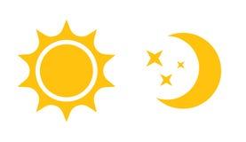 Солнце и значок луны плоский Vector логотип для веб-дизайна, черни и infographics иллюстрация вектора