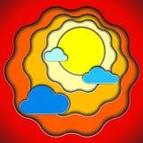 Солнце и облака цвета бумажные Стоковая Фотография RF